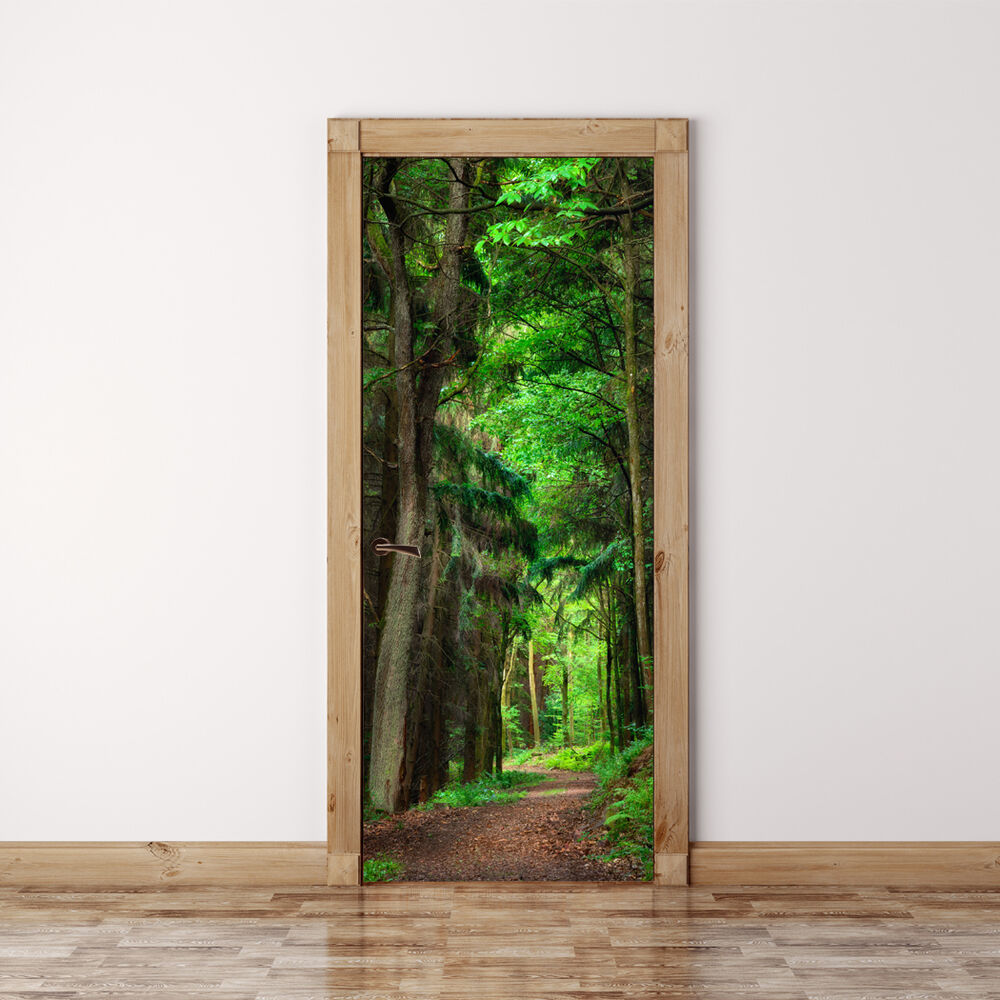 Door mural scene in the forest self adhesive fabric door for Door mural stickers