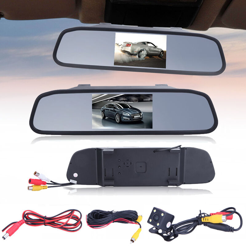4 3 lcd rearview monitor backup rear view mirror w. Black Bedroom Furniture Sets. Home Design Ideas