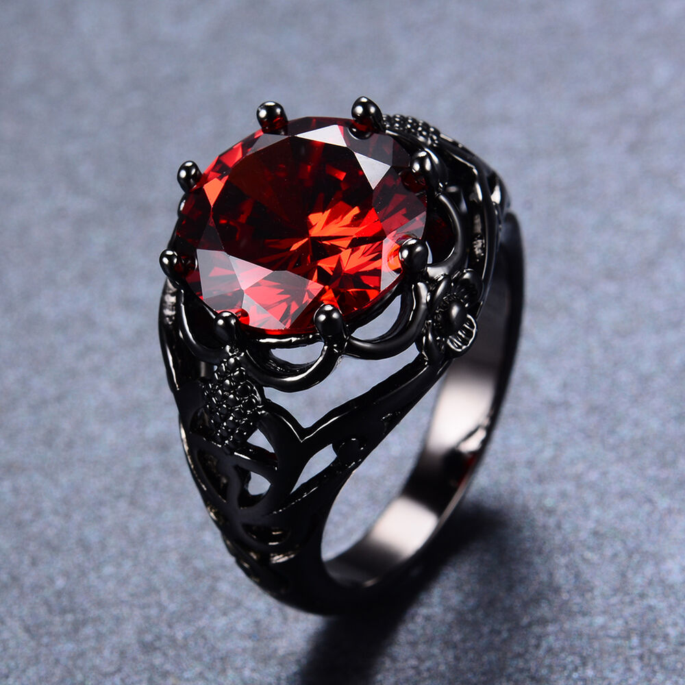 Round Red Ruby Wedding Women Man Rings Solid 10Kt Black Gold Filled Size 5 11