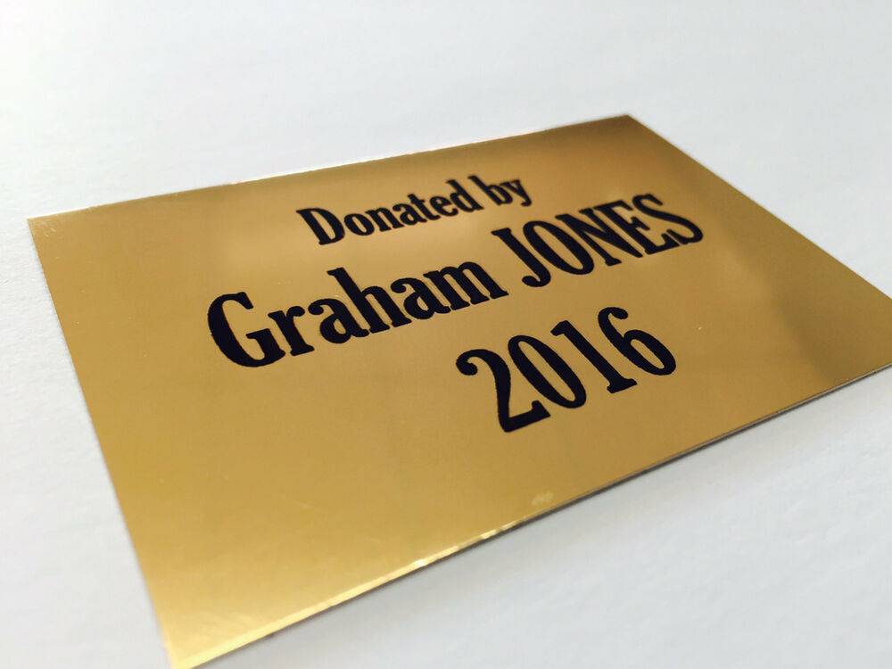 personalised laser engraved gold metal plate 120x80mm name plaque aluminium ebay. Black Bedroom Furniture Sets. Home Design Ideas