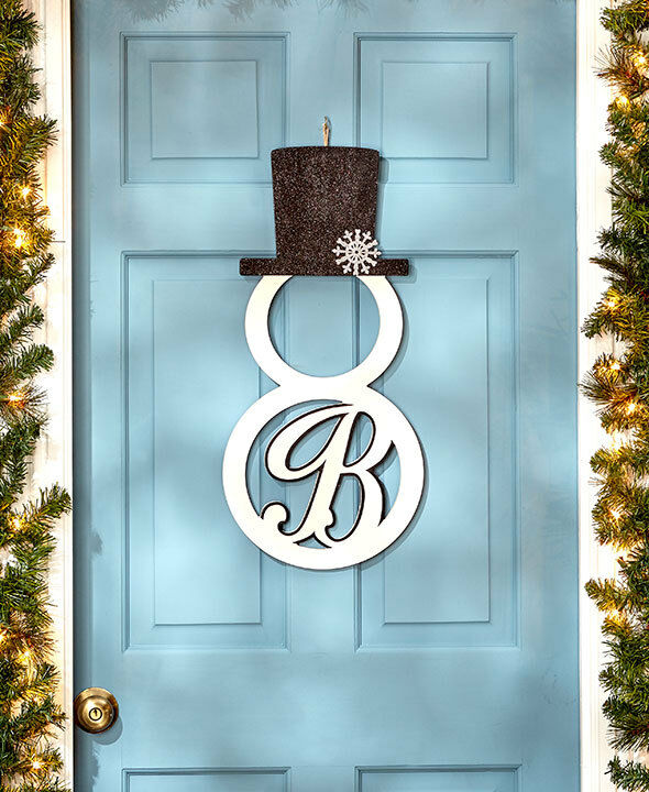 Personalized monogram snowman front door hangers wall for Initial decorations for home