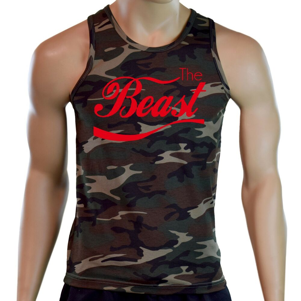 94842fed05dad Details about New Men s The Beast Camo Tank Top Workout Bodybuilding Gym  Swole Lift Muscle Tee