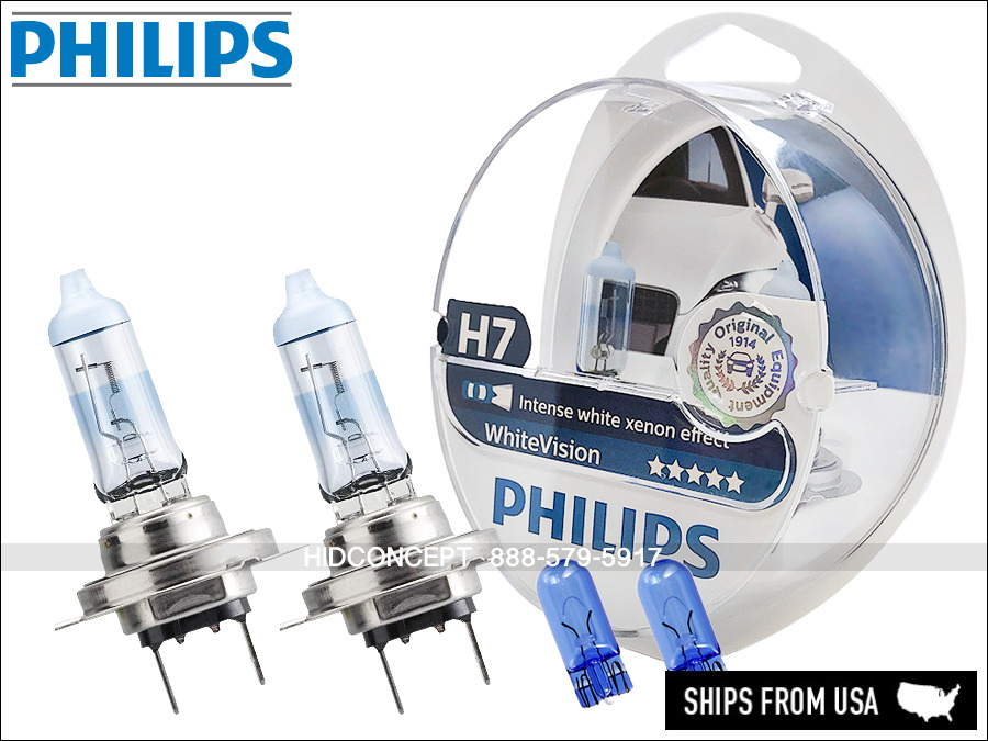 philips white vision h7 xenon halogen headlight replacement bulbs pair 4500k ebay. Black Bedroom Furniture Sets. Home Design Ideas