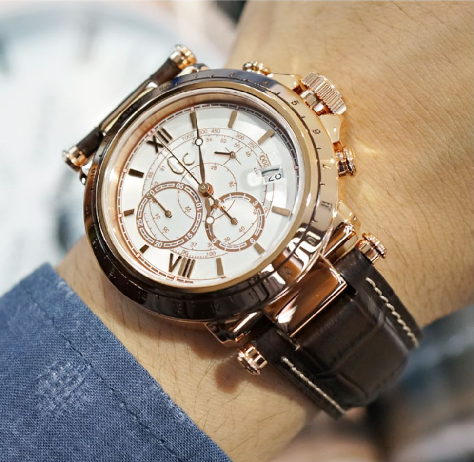 guess collection gc b1 class leather chronograph mens
