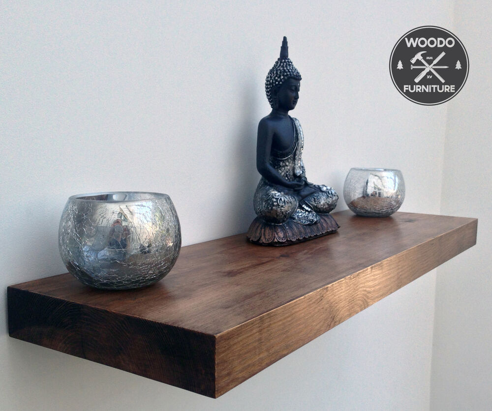 Reclaimed Wooden Floating Shelves Solid Rustic Chunky Wood