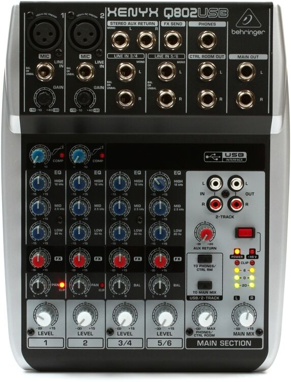 behringer xenyx q802usb 8 input 2 bus analog mixer 3 band eq usb audio interface ebay. Black Bedroom Furniture Sets. Home Design Ideas