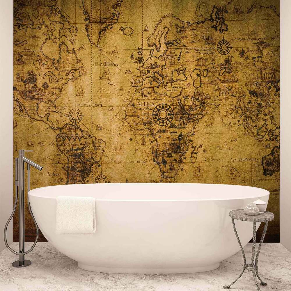 Wall mural photo wallpaper xxl sepia world map vintage for Antique wallpaper mural