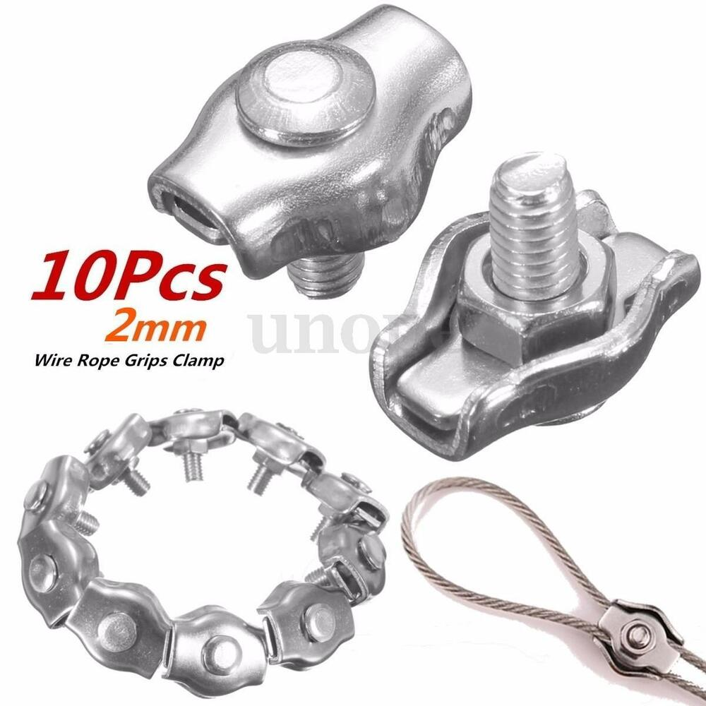 10Pcs 2mm Clips 316 Stainless Steel Wire Rope Simple Grips Cable ...
