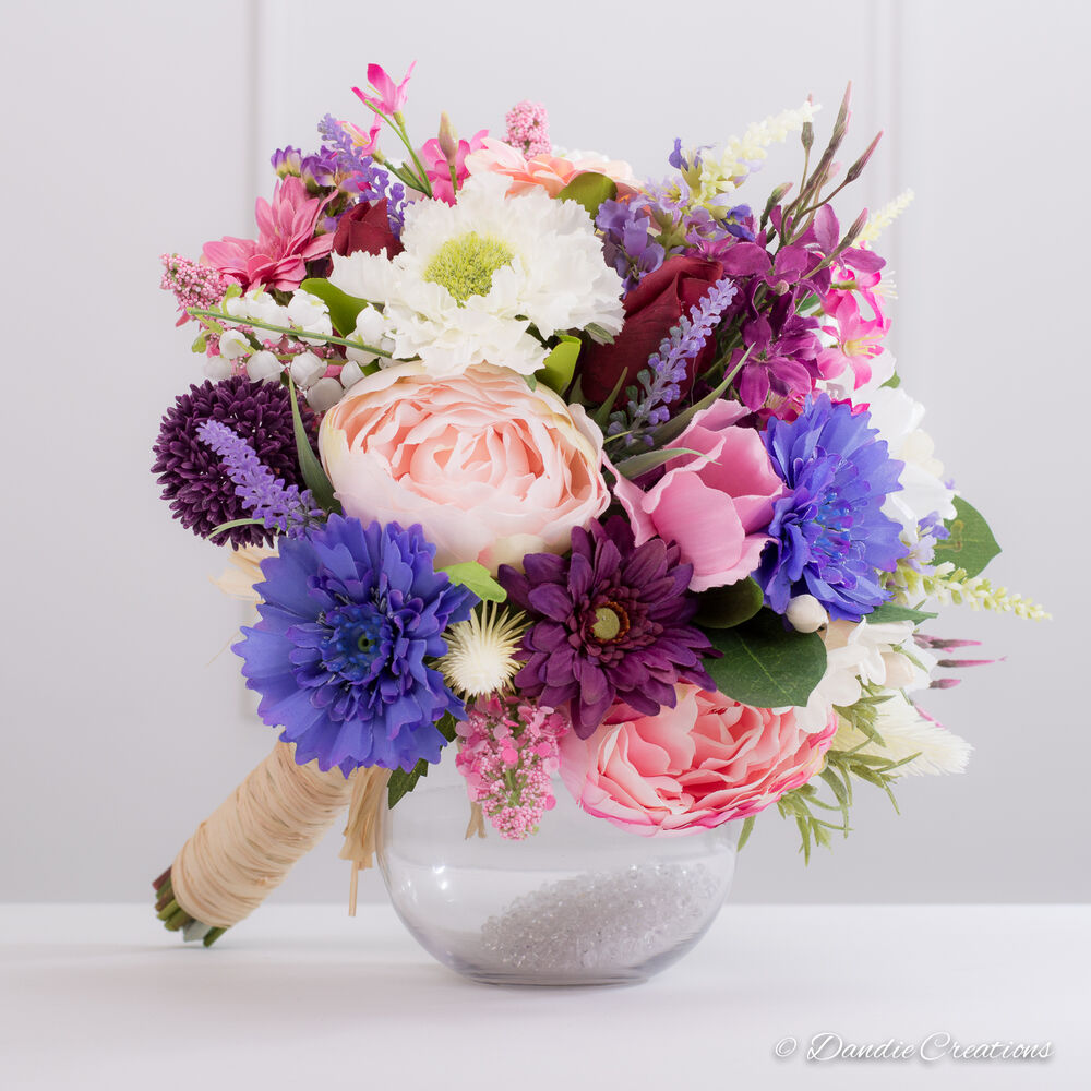 Wild Flowers For Wedding: Silk Bridal Bouquet In Country Style With Wild Flowers