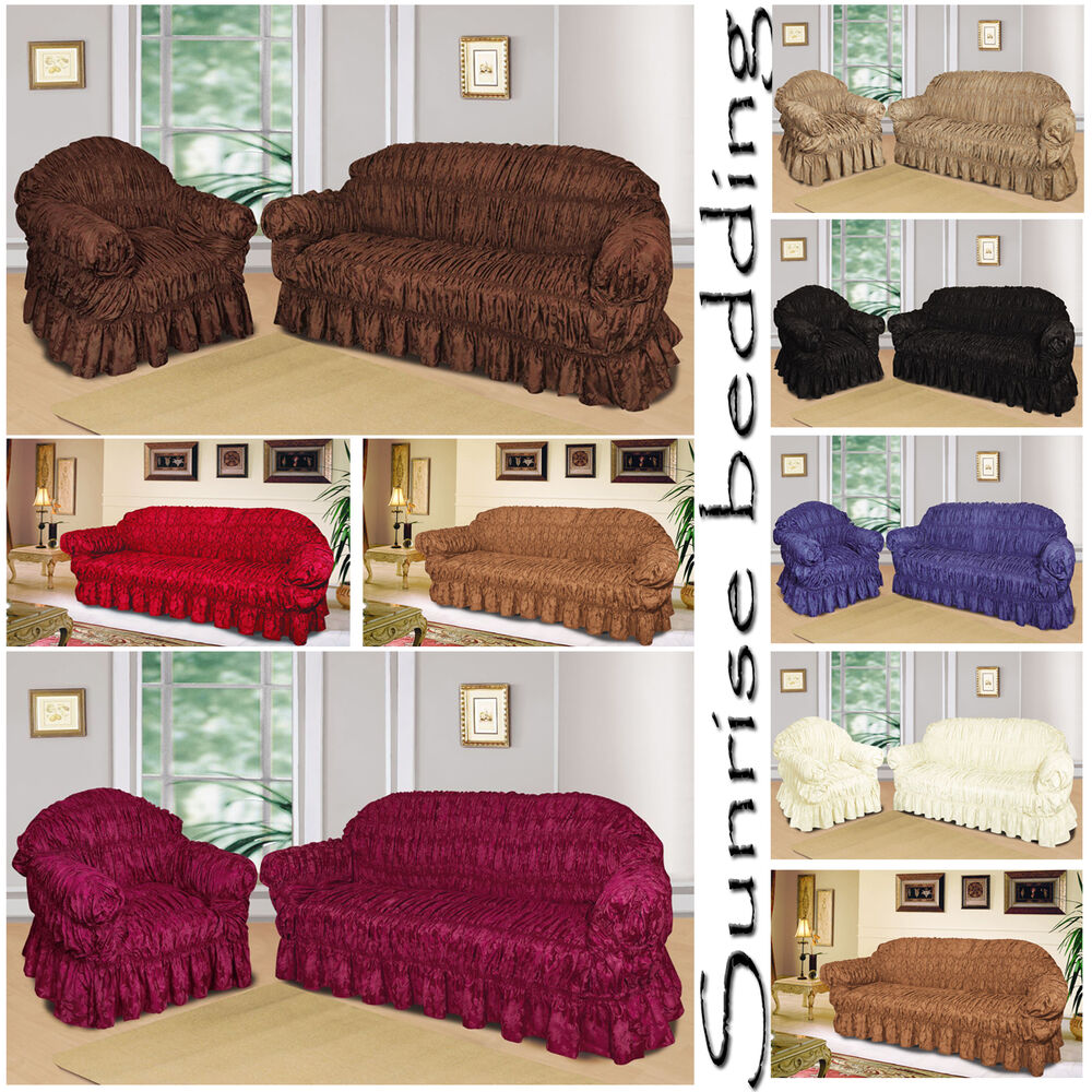 QUILTED SOFA SLIP COVERS Jacquard 1,2,3 Seater Sofa Cover