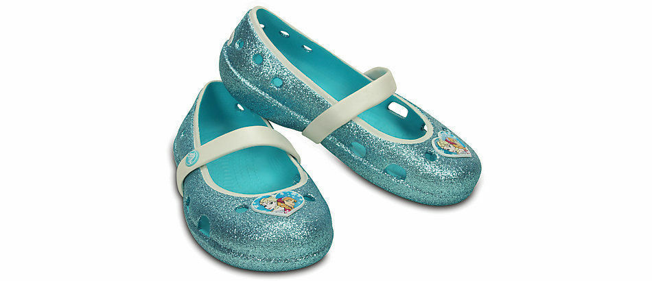 e0cd50ce9b2f3f Details about CROCS KEELEY FROZEN FLAT POOL BLUE GLITTER RELAXED FIT KIDS  GIRLS PRINCESS SHOES