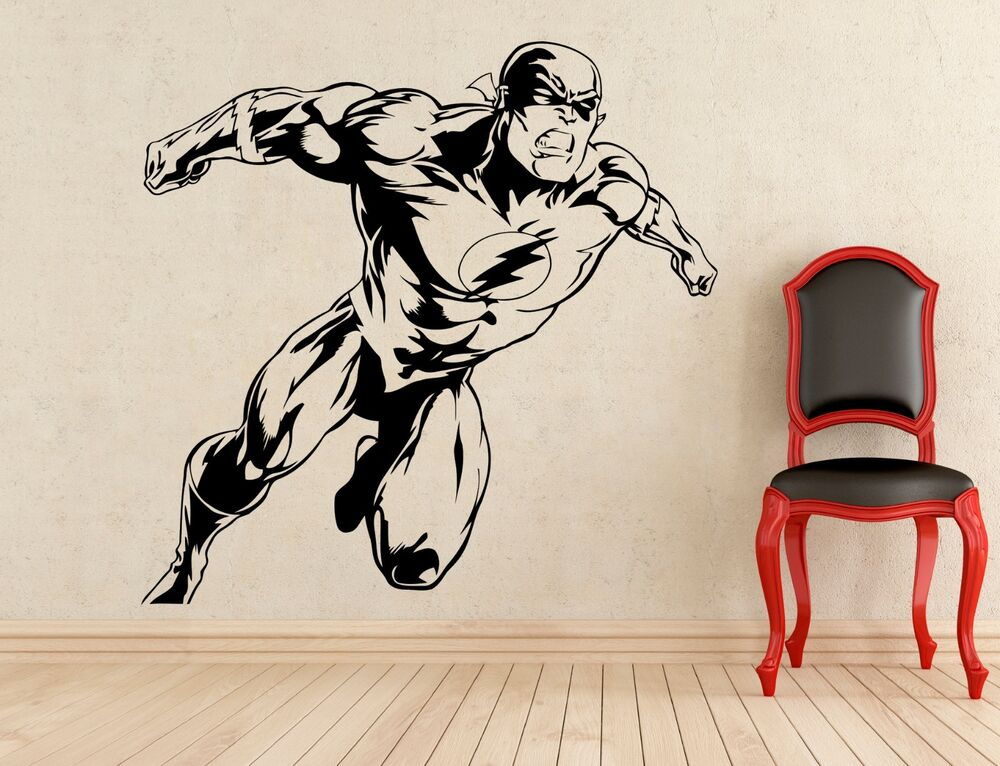 flash wall decal superhero vinyl sticker dc marvel comics decor home mural 279z ebay. Black Bedroom Furniture Sets. Home Design Ideas