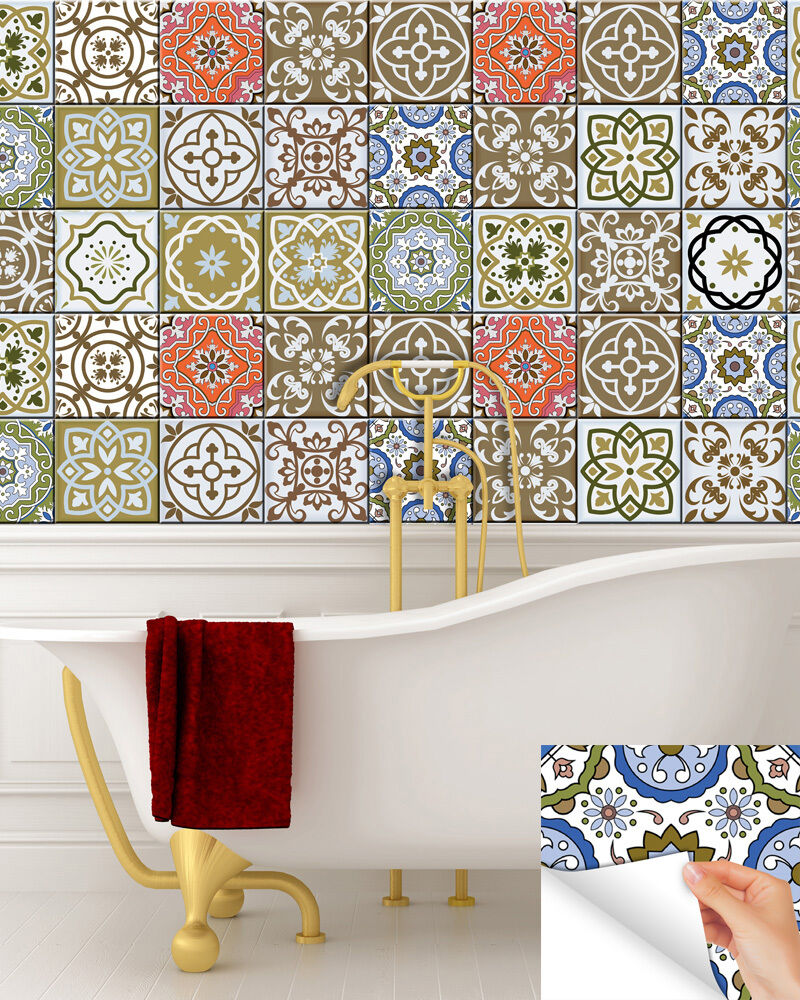 Vintage TILE DECAL SET OF 24 Tiles For Kitchen Bathroom Stairs Stickers DIY S