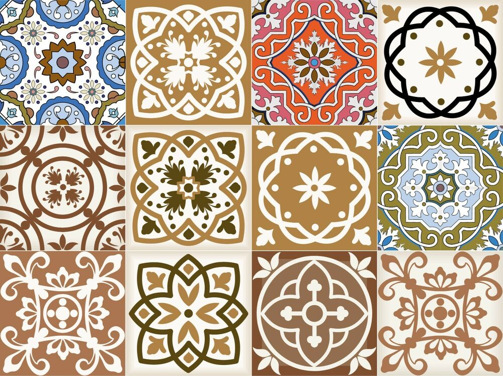 retro kitchen tile stickers vintage tile decal set of 24 tiles for kitchen bathroom 4821