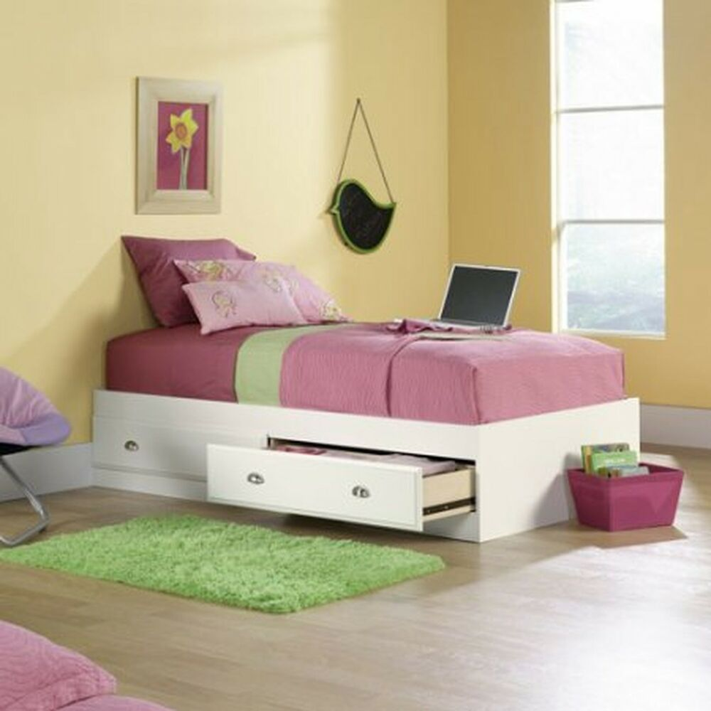 Twin Bed Frame With Storage Underneath Kids Adults Platform White Size Drawers Ebay