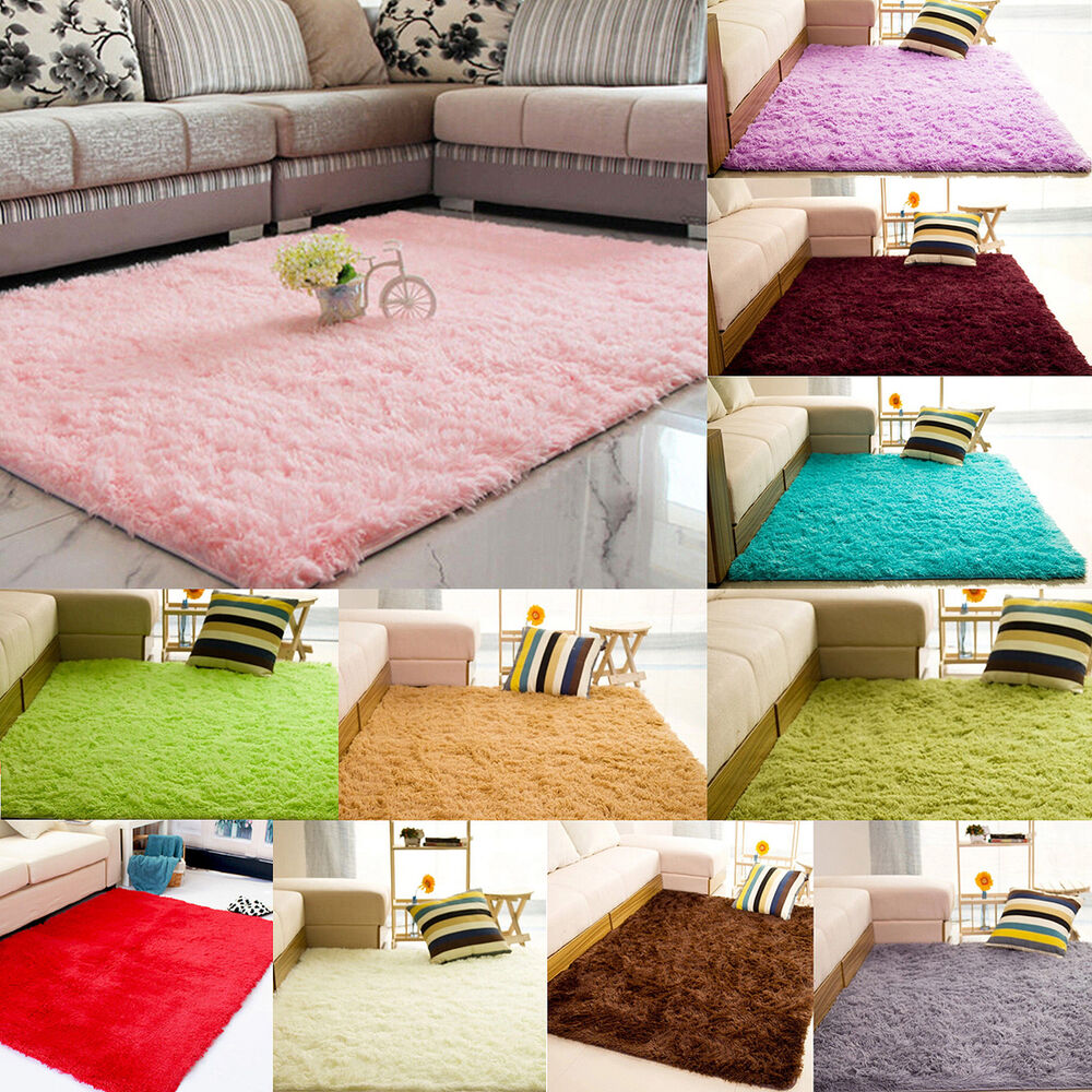 Anti-Skid Fluffy Rug Shaggy Area Room Home Bedroom Carpet