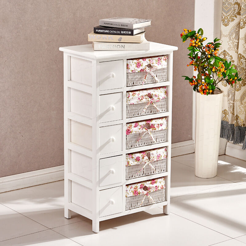 Wooden white shabby chic chest of drawers wicker baskets storage cabinet bedroom ebay for White bedroom chest of drawers