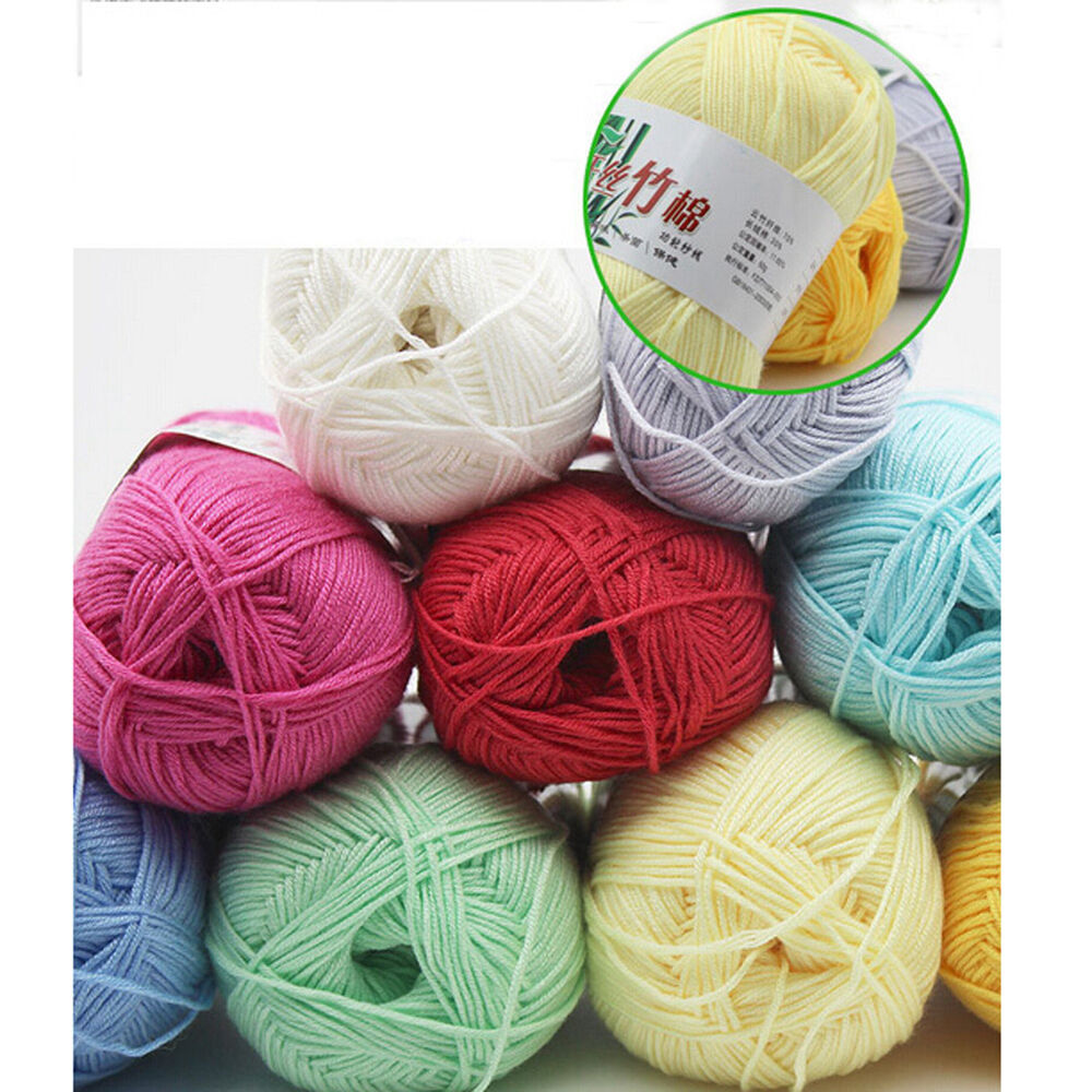 50g Lots Colorful Soft Bamboo Crochet Cotton Knitting Yarn