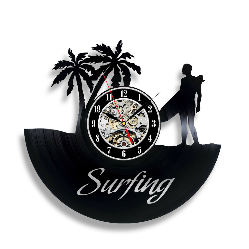 Surfing vinyl clock surfing fan gift wall art decor beach for Vinyl records decorations for wall