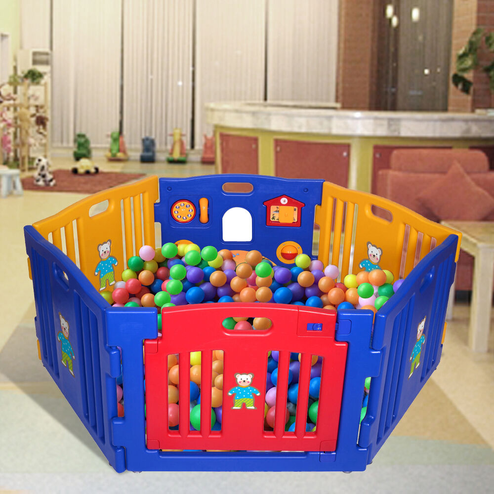 Baby playpen 6 panel safety play center yard home indoor for Baby play centre
