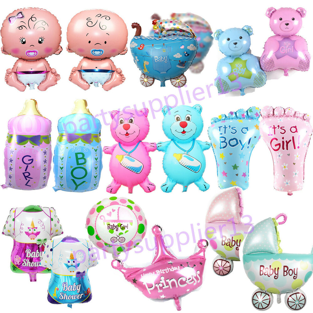 Boy Girl Baby Shower Foil Helium Balloon Christening Birthday Party ...
