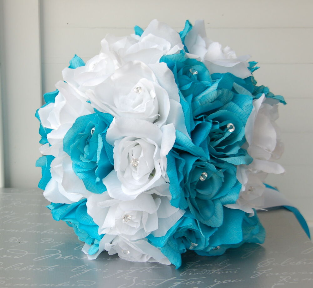 19pc turquoise and white wedding bouquet package artificial 19pc turquoise and white wedding bouquet package artificial flowers ebay dhlflorist Gallery