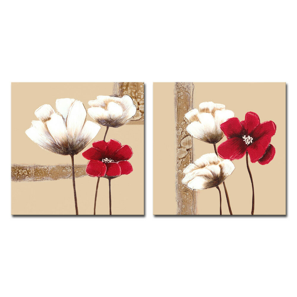 Framed Canvas Wall Decor : Canvas print abstract flowers landscape modern wall art