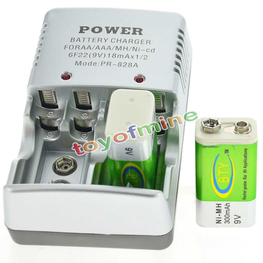 2 Bty 9v 9 Volt Rechargeable Battery 300mah Charger Ebay