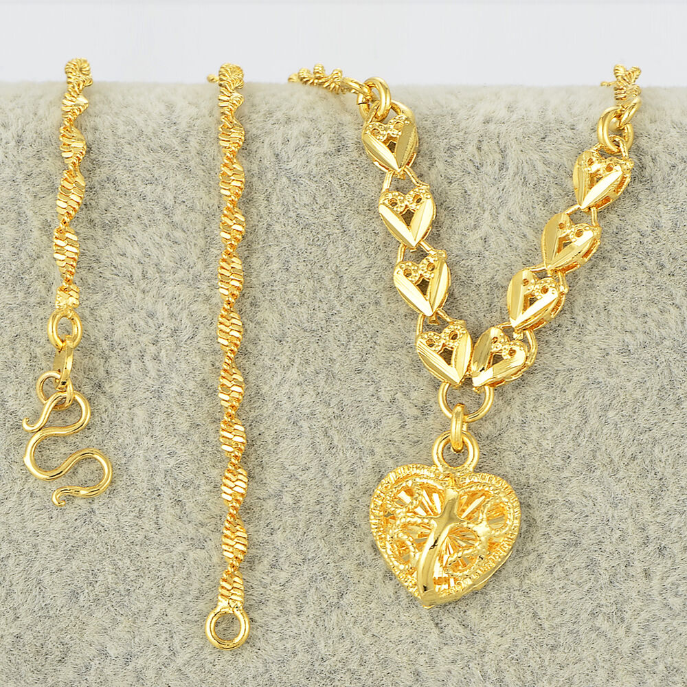 24k yellow gold filled womens charms heart pendants water. Black Bedroom Furniture Sets. Home Design Ideas