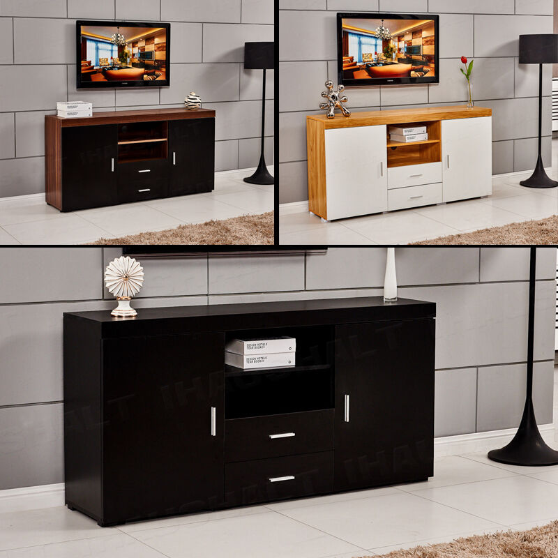 Wood TV Stand Sideboard TV Unit Cabinet With Drawers Shelf  -> White Sideboard Tv Cabinet