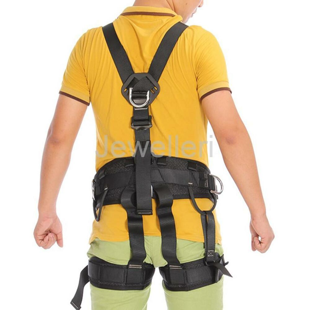 Black Full Body Safety Harness For Rock Climbing Rope
