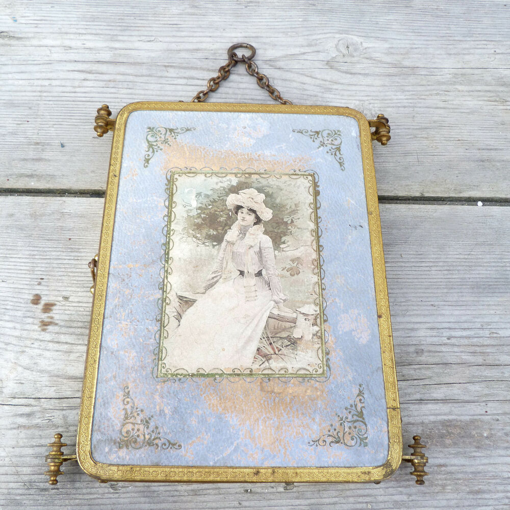 Antique french 1890 victorian trifold mirror triple for Victorian mirror