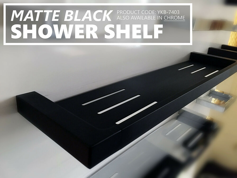 Square Matte Black Metal Solid Brass Shower Tray Shelf Rack Bathroom Accessories Ebay