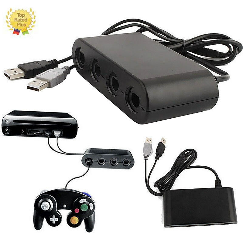 USB 4 Ports GameCube Controller Adapter Converter For