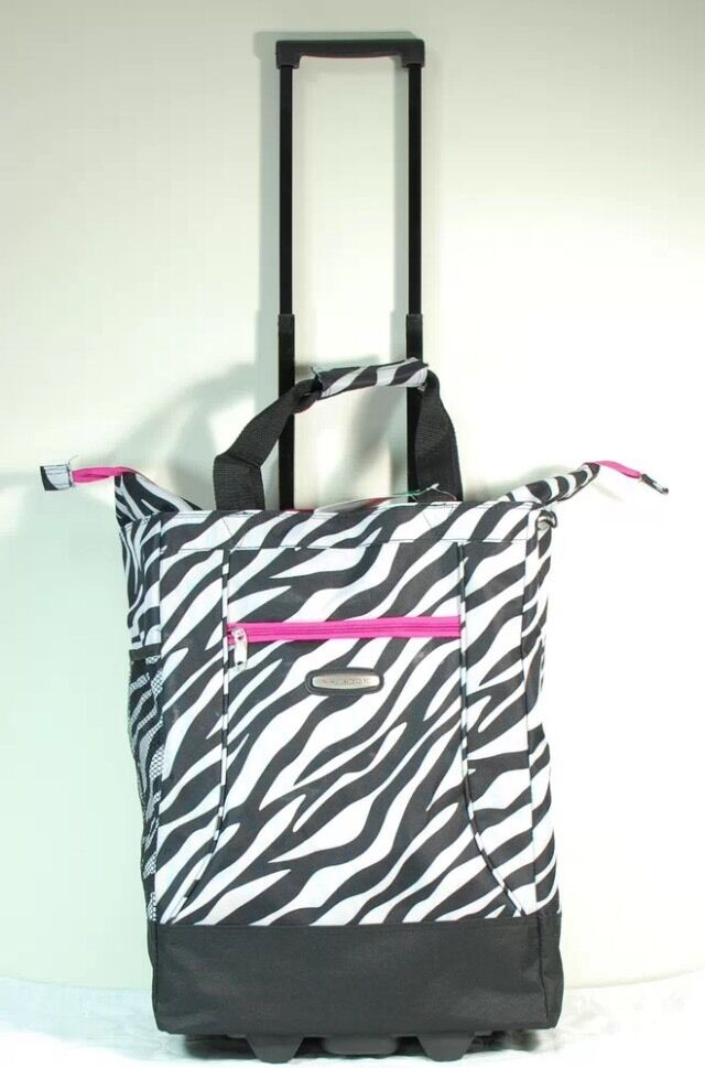20 zebra rolling shopping tote bag wheeled carry on luggage by wisdom ebay. Black Bedroom Furniture Sets. Home Design Ideas