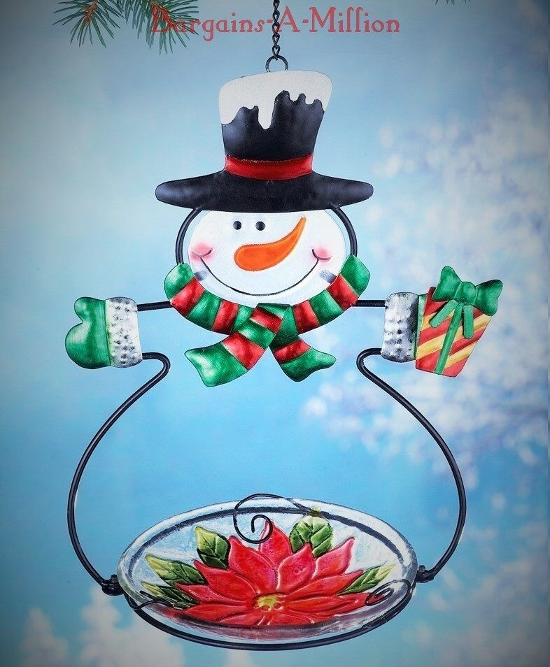 Snowman Hanging Metal Glass Bird Feeder Seed Holder