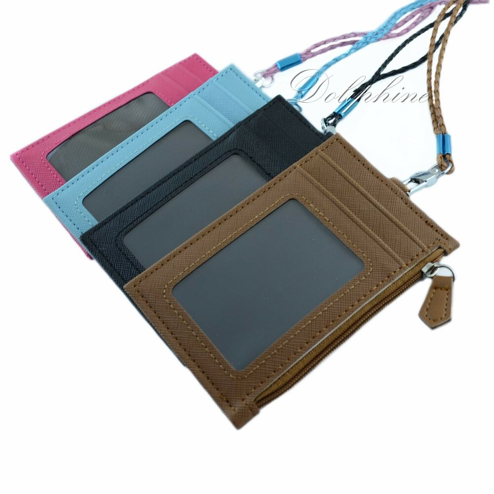 Multi Color Pu Leather Id Holder With 4 Card Slots Zipper