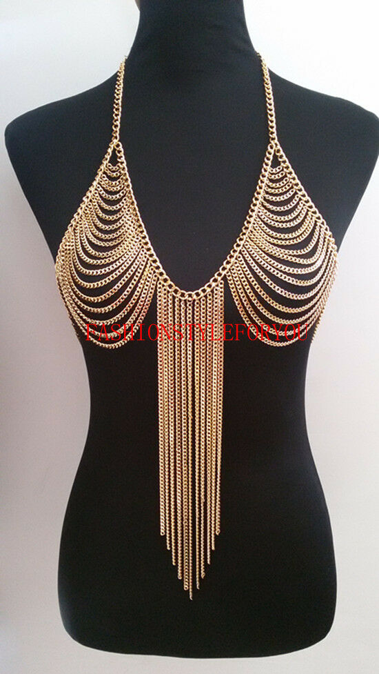 fashion style b34 women gold chains sexy bra chains