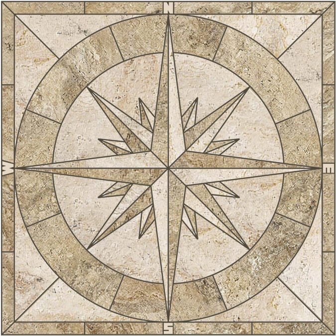 24 Quot Porcelain Tile Captain S Compass Rose Mosaic Medallion