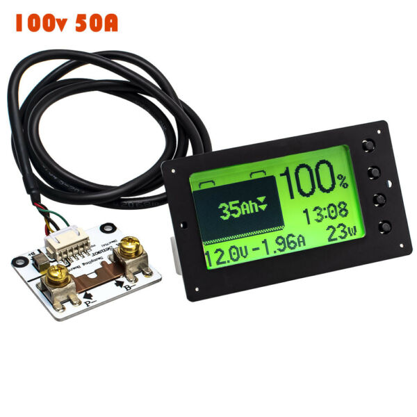 DC 12-100V 50A Battery Capacity Tester Voltage Current Indicator Coulomb Counter