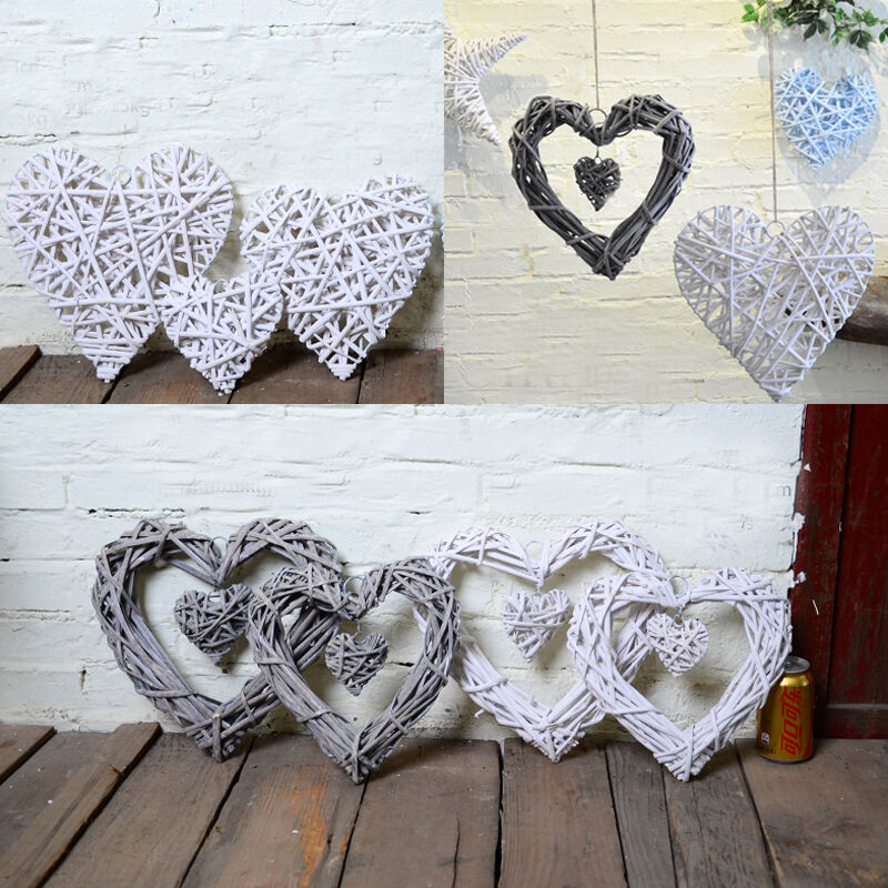 shabby chic wicker heart wreath home wall hanging wedding birthday party decor ebay. Black Bedroom Furniture Sets. Home Design Ideas