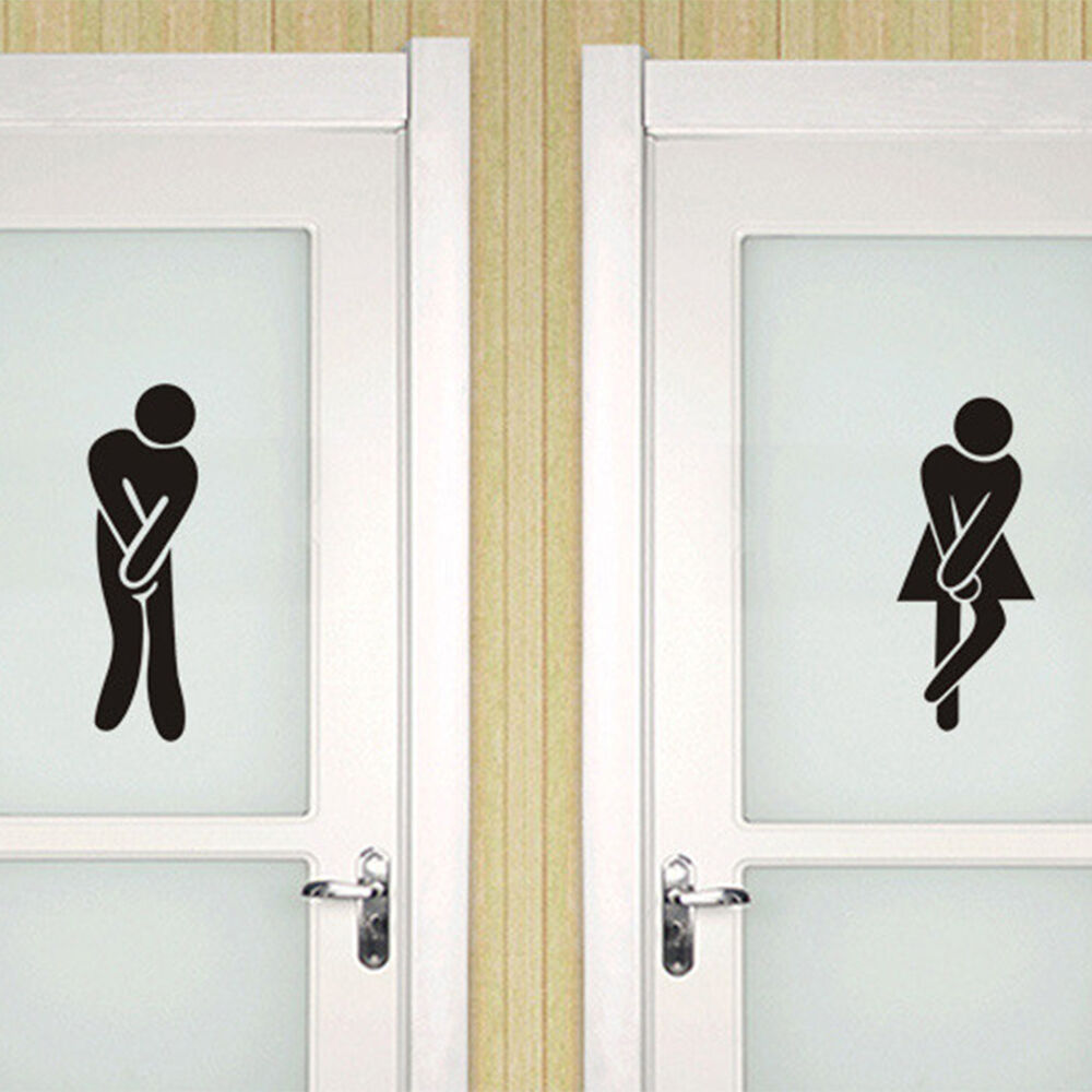Funny Toilet Peek Sign Sticker: Funny Toilet Entrance Sign Decal Vinyl Sticker For Shop