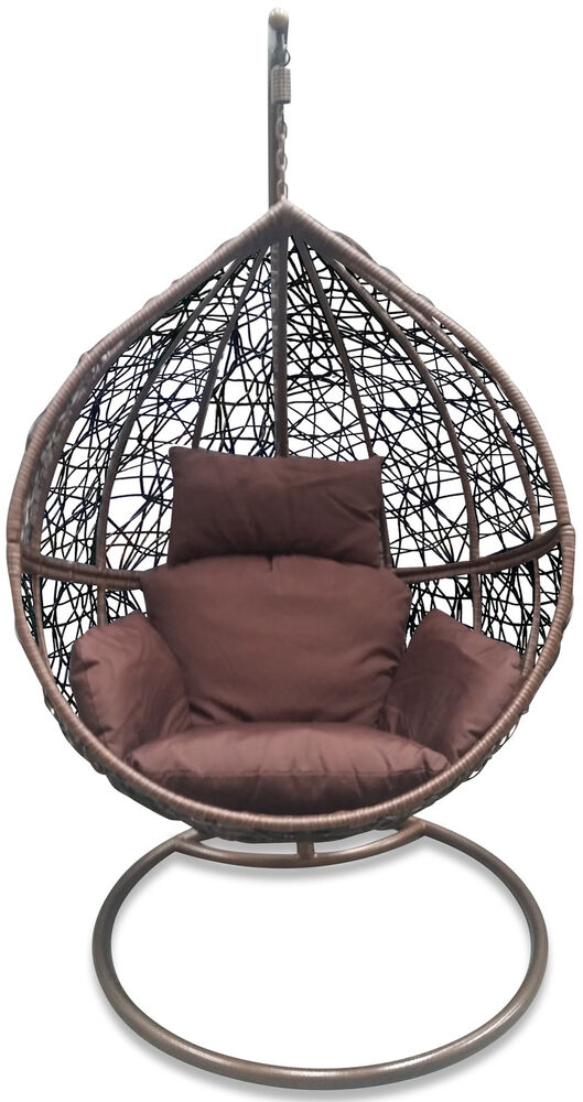outdoor hanging egg pod chair dark brown basket