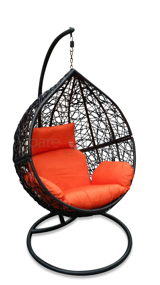 Outdoor Hanging Egg Chair Black Basket with Orange Cushions PRESALE