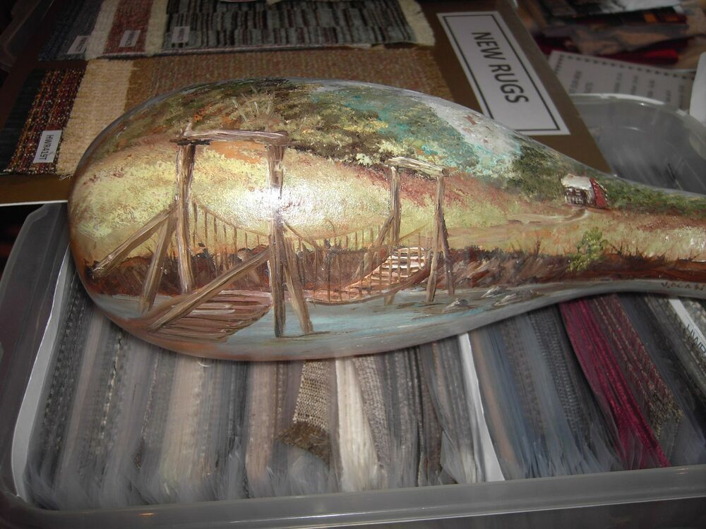 hand painted gourd swinging bridge and cabin signed v
