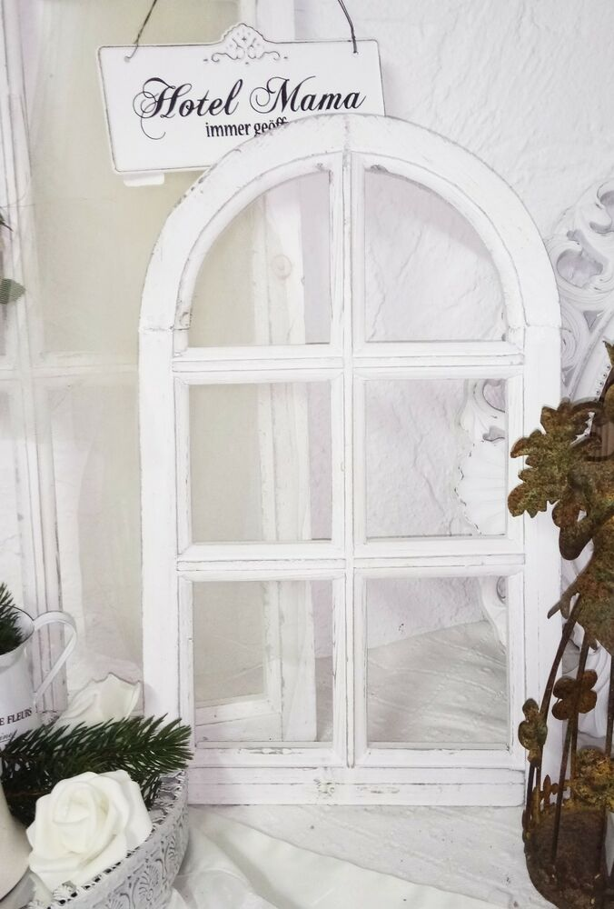 fenster deko fensterrahmen rundbogenfenster brocante holz wei shabby chic 49cm ebay. Black Bedroom Furniture Sets. Home Design Ideas