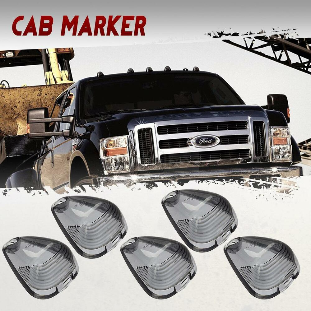 5 Smoke Cab Roof Running Marker Light Cover Lens For Ford
