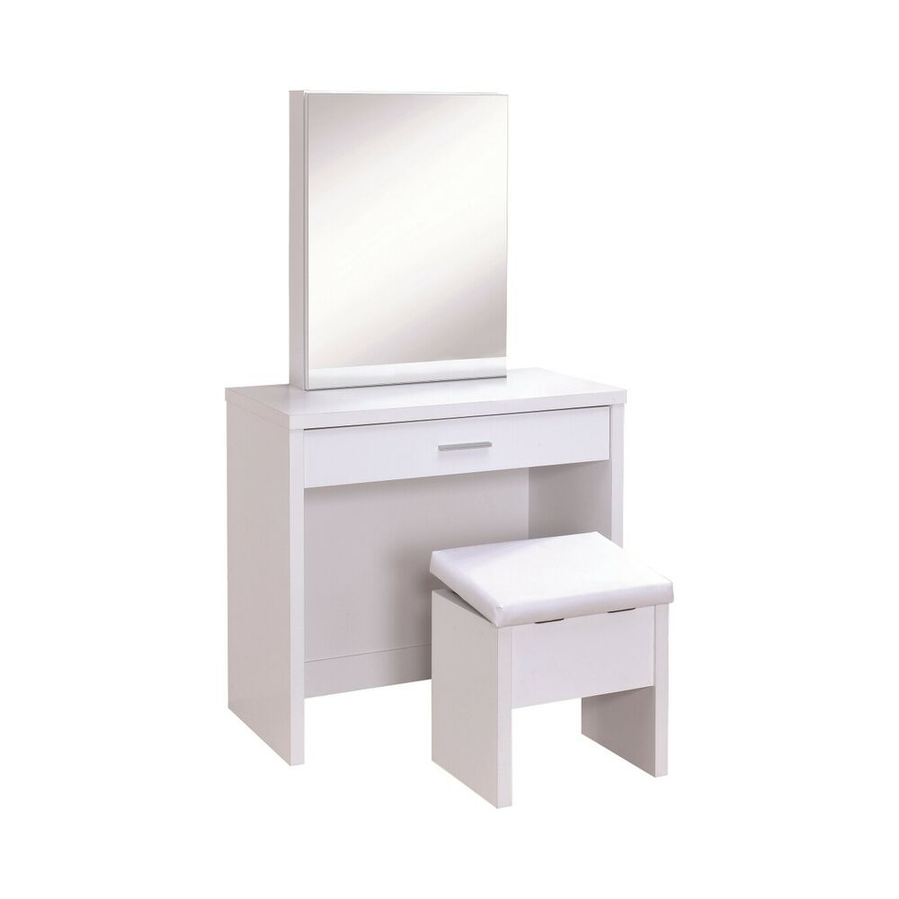 Contemporary White Vanity Table And Stool Set With Storage
