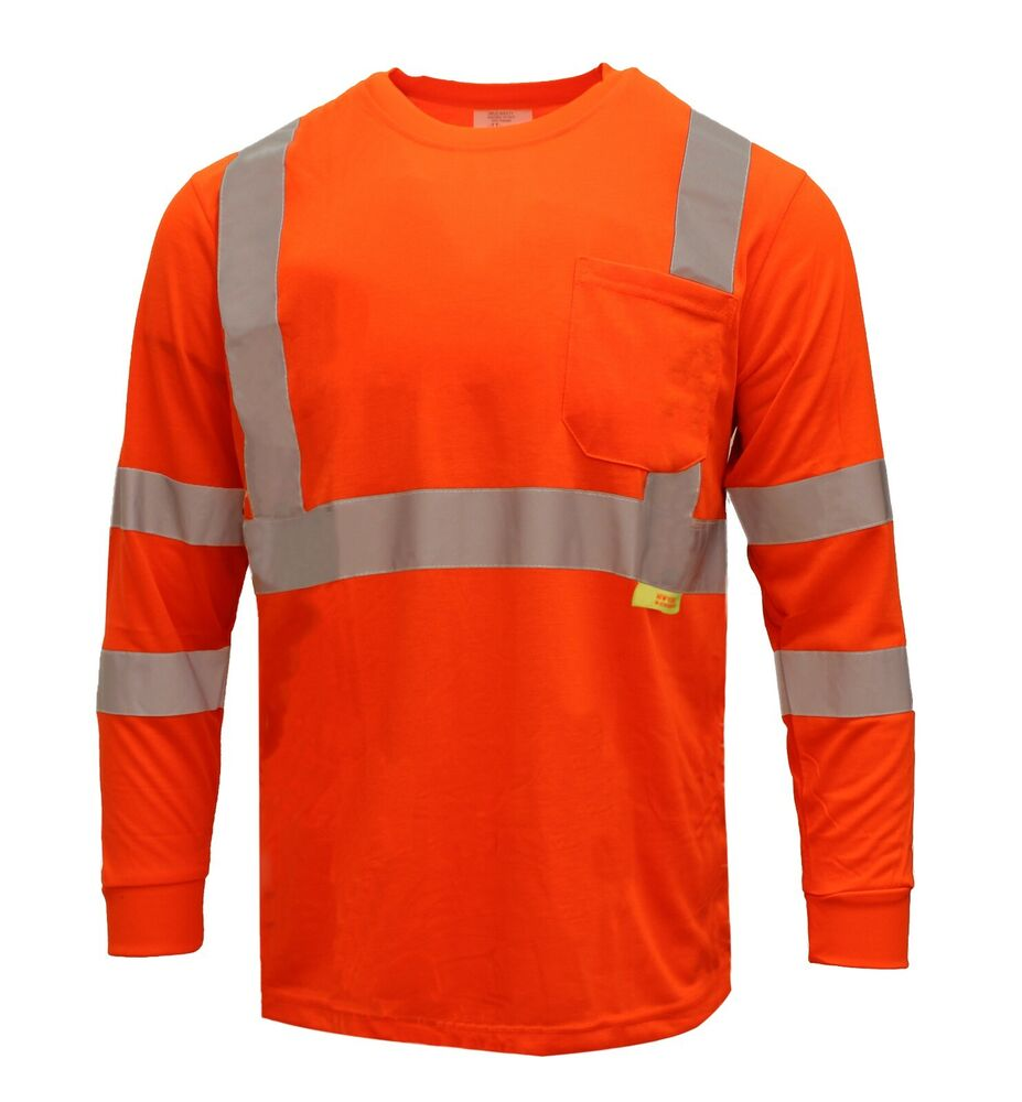 Hi Vis T Shirt Ansi Class 3 Reflective Safety Long Sleeve
