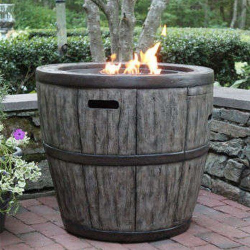 Wine Barrel 27 Quot Gas Fire Pit With Concrete Base Amp Table